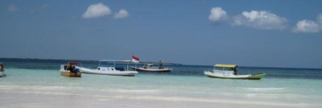 Sulawesi sea and beach and boats